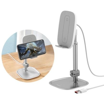 Bezdrátová nabíječka Qi 15 W teleskopický podstavec na telefon s kabelem USB stříbrný (SUWY-D0S)