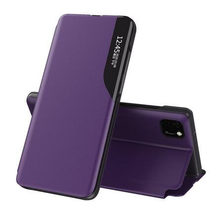 Eco Leather View Case elegantní pouzdro s klapkou a funkcí podstavce Huawei Y6p fiaalové