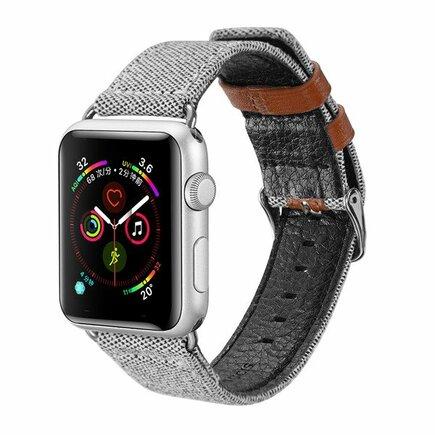 Litchi Grain Band pásek pro Watch 4 44mm / Watch 3 42mm / Watch 2 42mm / Watch 1 42mm šedý