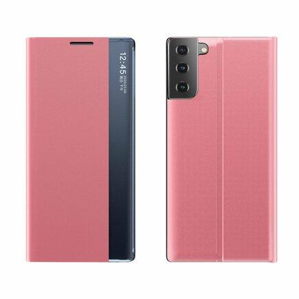 New Sleep Case pouzdro s klapkou s funkcí podstavce Samsung Galaxy S21 5G růžové
