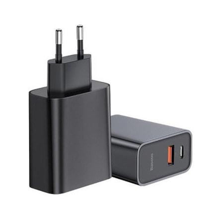 Síťový adaptér Baseus Speed PPS Quick charger EU USB / USB Type C PD Quick Charge 3.0 QC3.0 černý (CCFS-C01)