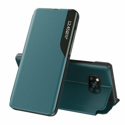 Eco Leather View Case elegantní pouzdro s klapkou a funkcí podstavce Xiaomi Poco X3 NFC zelené