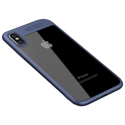 Frame elastické gelové pouzdro s rámem iPhone X modré