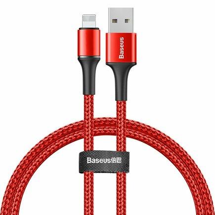 Halo Data Cable podsvícený nylonový kabel USB / Lightning z diodou LED 2.4A 0.5m červený (CALGH-A09)