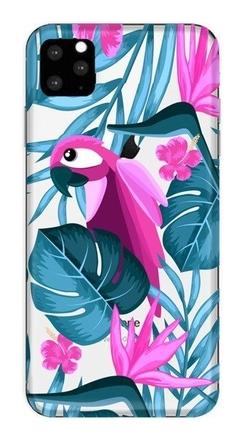 Pouzdro s potiskem papoušek a květiny iPhone 11