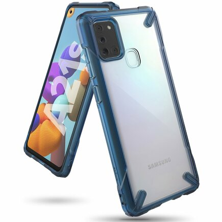 Ringke Fusion X pancéřové pouzdro s rámem Samsung Galaxy A21S modré (FUSG0060)