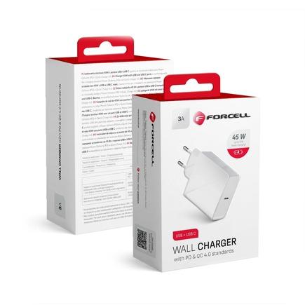 Síťová nabíječka Forcell s konektorem USB typu C - 3A 45W s nabíjením PD a Quick Charge 4.0