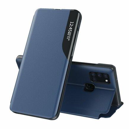 Eco Leather View Case elegantní pouzdro s klapkou a funkcí podstavce Samsung Galaxy A21S modré