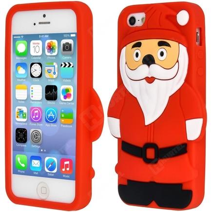Gumové pouzdro 3D Mikuláš iPhone 4S 4 červené