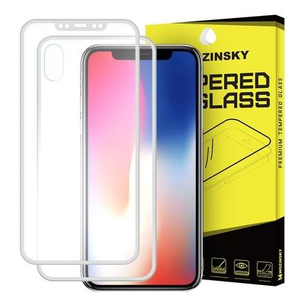 Tvrzené sklo přes celý displej + kryt na zadní část s hliníkovým rámem iPhone X stříbrné