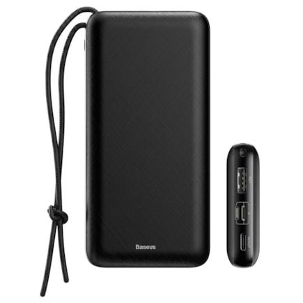 Baseus Mini Q power bank 20000 mAh USB / USB-C / micro USB 3A 15W + šňůrka na krk černá (PPALL-DXQ01)
