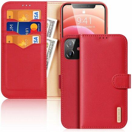 Dux Ducis Hivo kožené pouzdro s klapkou a přihrádkami pro karty iPhone 12 mini červené