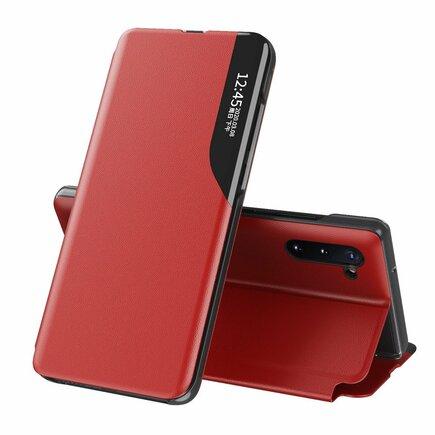 Eco Leather View Case elegantní pouzdro s klapkou a funkcí podstavce Samsung Galaxy Note 10 červené