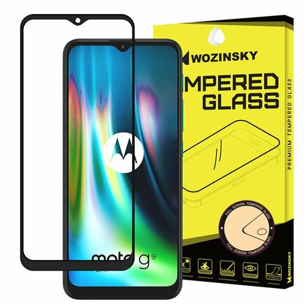 Super odolné tvrzené sklo Full Glue na celý displej s rámem Case Friendly Motorola Moto G9 Play / Moto E7 Plus černé