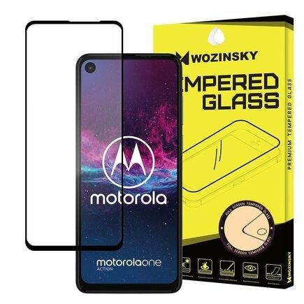 Super odolné tvrzené sklo Full Glue na celý displej s rámem Case Friendly Motorola One Action černé