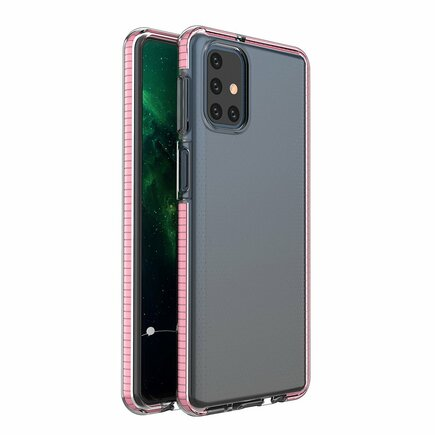 Spring Case gelové pouzdro s barevným rámem Samsung Galaxy M31s světle růžové