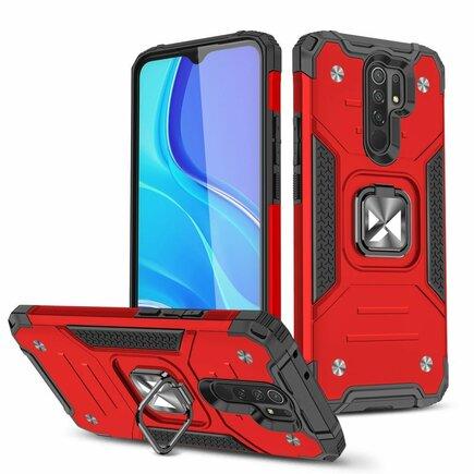 Wozinsky Ring Armor pancéřové hybridní pouzdro + magnetický úchyt Xiaomi Redmi 10X 4G / Xiaomi Redmi Note 9 červené
