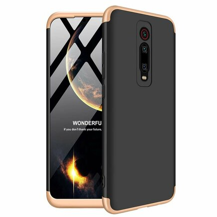 360 Protection Case pouzdro na přední i zadní část telefonu Xiaomi Mi 9T / Xiaomi Mi 9T Pro černo/zlaté