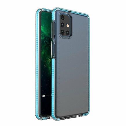 Spring Case gelové pouzdro s barevným rámem Samsung Galaxy M31s světle modré