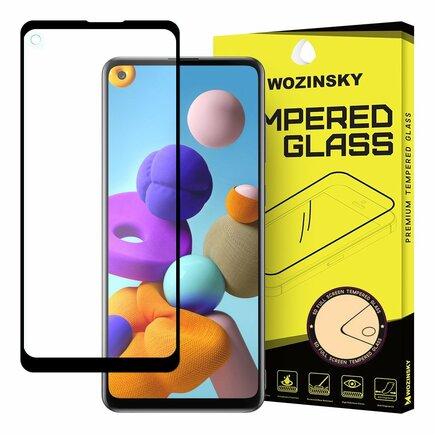 Super odolné tvrzené sklo Full Glue na celý displej s rámem Case Friendly Samsung Galaxy A21S černé