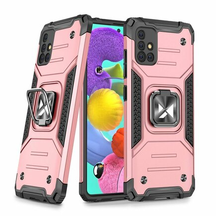 Wozinsky Ring Armor pancéřové hybridní pouzdro + magnetický úchyt Samsung Galaxy A51 5G růžové