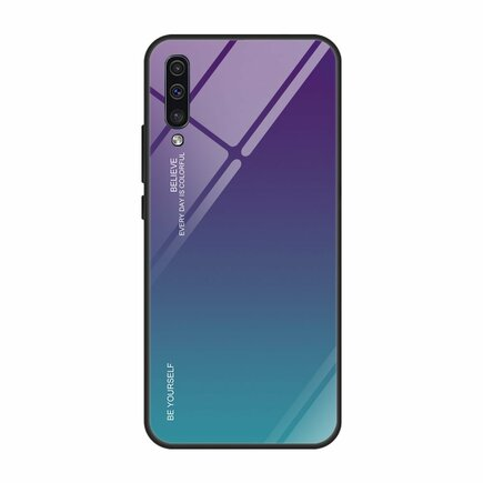 Gradient Glass pouzdro s vrstvou z tvrzeného skla Samsung Galaxy A50 zeleno-fialové