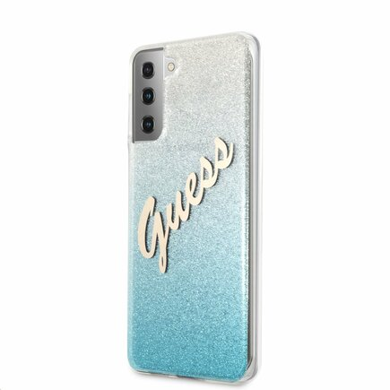 Guess PC/TPU Vintage Pouzdro pro Samsung Galaxy S21+ Gradient světle modré