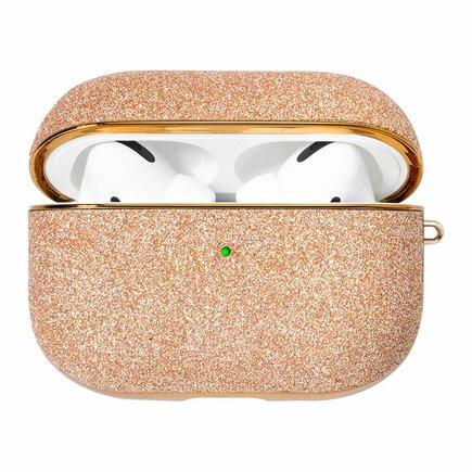 Kingxbar Bling lesklé brokátové pouzdro pro sluchátka AirPods Pro zlaté