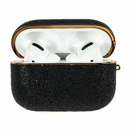 Kingxbar Crystal Fabric lesklé brokátové pouzdro pro sluchátka AirPods Pro černé