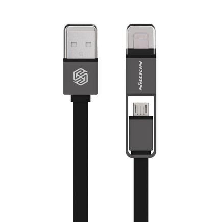 Plus 2v1 plochý kabel USB - micro USB / Lightning 1.2M 2.1A černý