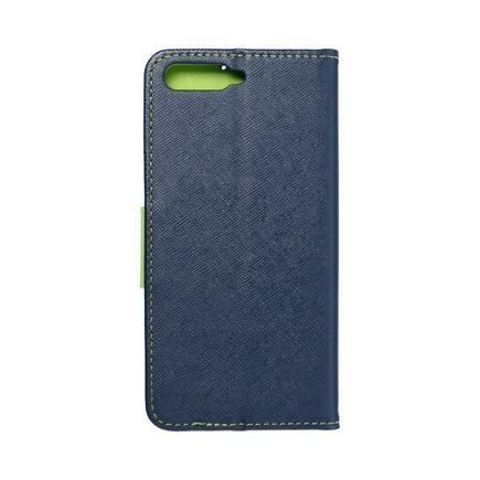 Pouzdro Fancy Book Huawei Y6 2018 tmavě modré/limetkové