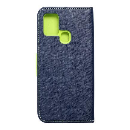Pouzdro Fancy Book Samsung A21s tmavě modré/limetkové