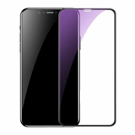 2x sklo na celý displej Full Screen s rámem 0.3mm 9H Anti-bluelight iPhone 11 Pro Max / iPhone XS Max + pozicionér černé (SGAPIPH65S-KD01)