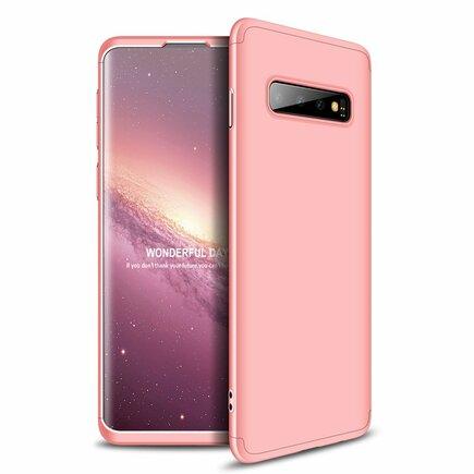 360 Protection Case pouzdro na přední i zadní část telefonu Samsung Galaxy S10 růžové