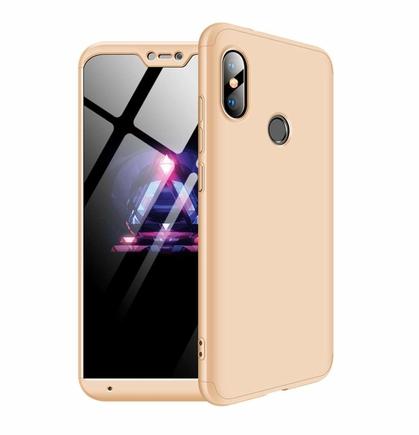 360 Protection Case pouzdro na přední i zadní část telefonu Xiaomi Mi A2 Lite / Redmi 6 Pro zlaté