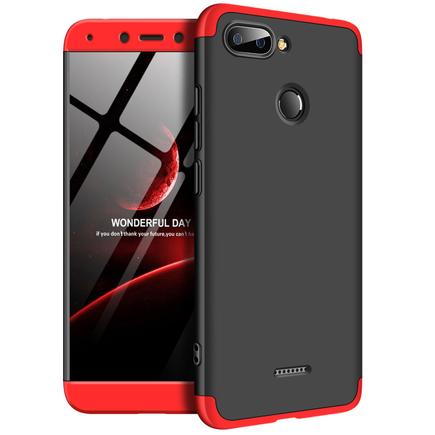 360 Protection Case pouzdro na přední i zadní část telefonu Xiaomi Redmi 6 černo/červené