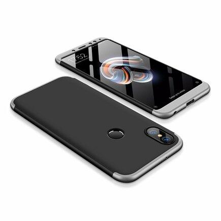 360 Protection Case pouzdro na přední i zadní část telefonu Xiaomi Redmi Note 5 (dual camera) / Redmi Note 5 Pro černo/stříbrné