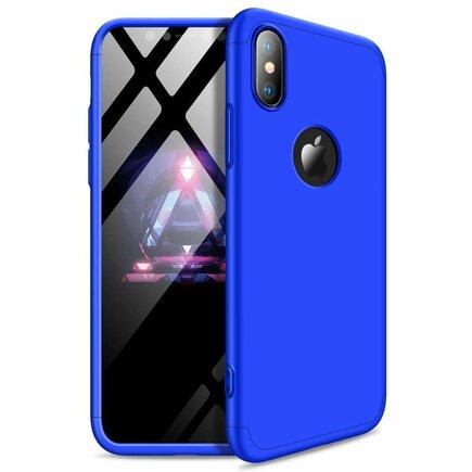 360 Protection Case pouzdro na přední i zadní část telefonu iPhone XS Max modré (logo hole)