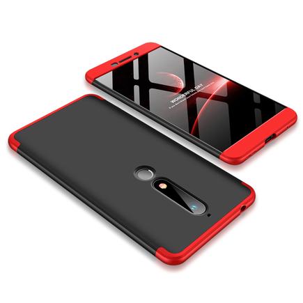 360 Protection pouzdro na přední i zadní část telefonu Nokia 6.1 černo-červené