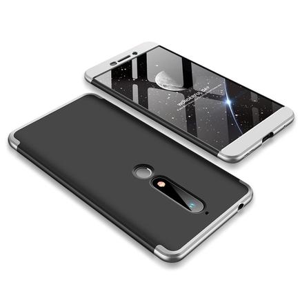 360 Protection pouzdro na přední i zadní část telefonu Nokia 6.1 černo-stříbrné