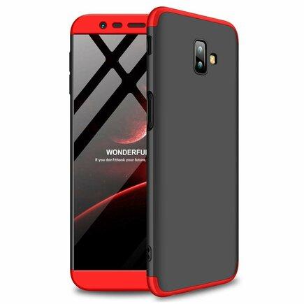 360 Protection pouzdro na přední i zadní část telefonu Samsung Galaxy J6 Plus 2018 J610 černo-červené