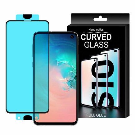 3D Edge Nano Flexi Glass skleněná fólie / tvrzené sklo na celý displej s rámem Samsung Galaxy S10e průsvitné