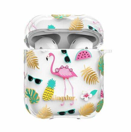 AirPods Case silikonové pouzdro na sluchátka s krystalky Swarovski AirPods Flamingo