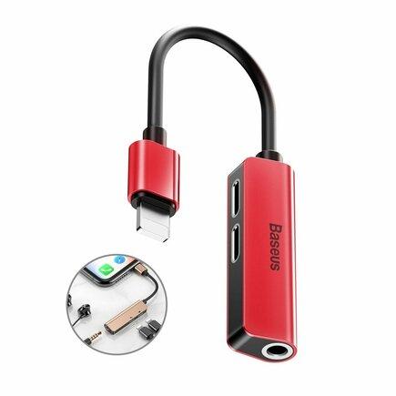 Audio Converter L52 adaptér z Lightning na 2x Lightning + mini jack 3.5mm černo-červený (CALL52-91)
