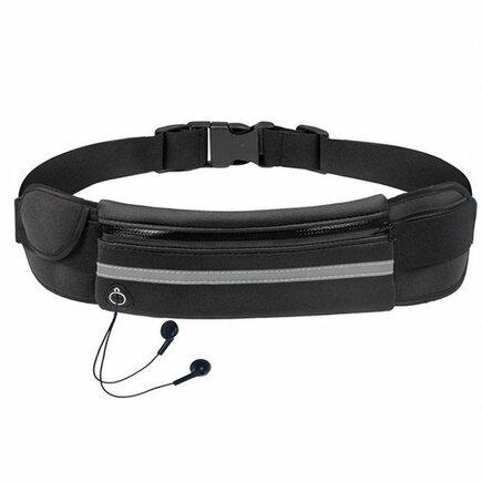 Běžecký opasek na bidon, pouzdro pro telefon s výstupem pro sluchátka černý