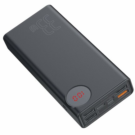Baseus Mulight power banka 30000 mAh s LCD displejem Power Delivery PD3.0 Quick Charge QC3.0 33W černá (PPMY-01)