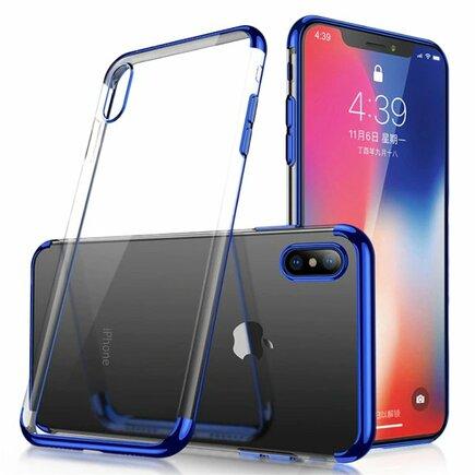 Clear Color case gelové pouzdro s metalickým rámem Huawei P30 Lite modré