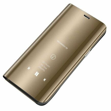 Clear View Case pouzdro s klapkou Huawei Y5 2019 zlaté