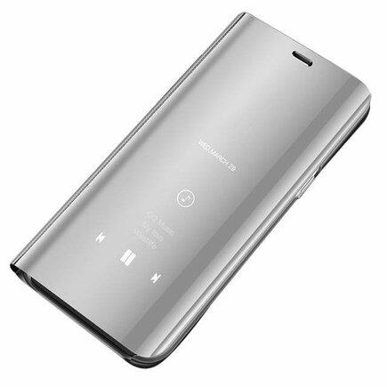 Clear View Case pouzdro s klapkou Huawei Y6 2019 stříbrné