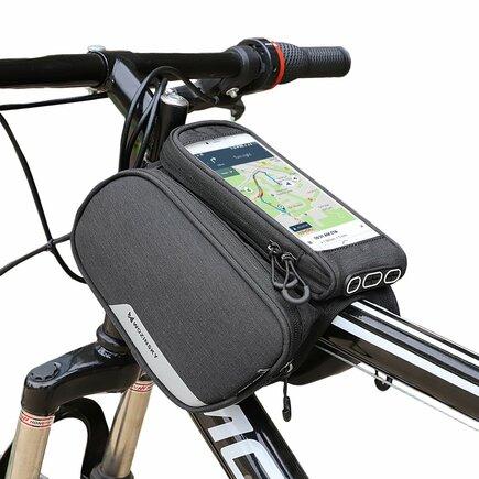 Cyklistická taška na rám + odnímatelné pouzdro na telefon do 6,5 palců 1.5L černé (WBB7BK)